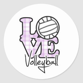 Love Volleyball Round Sticker