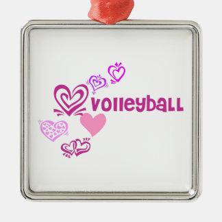 Love Volleyball Silver-Colored Square Decoration