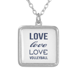 Love Volleyball Silver Plated Necklace