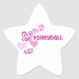 Love Volleyball Star Sticker