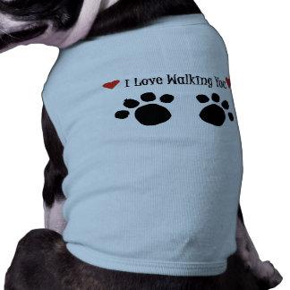 Love Walking Doggie Ringer T-Shirt Sleeveless Dog Shirt