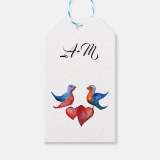 Love, Watercolor Birds Custom  Gift Tags