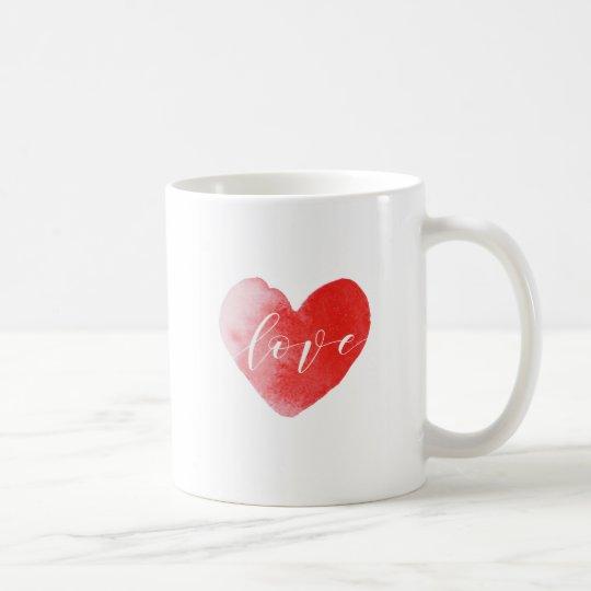 Love watercolor painted heart print mug