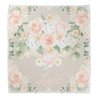 Love Watercolor Romantic Roses & Lace Bandana