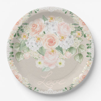 Love Watercolor Romantic Roses & Lace Paper Plate