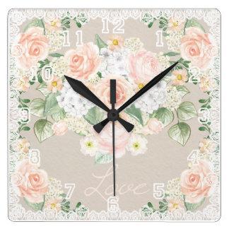 Love Watercolor Romantic Roses & Lace Square Wall Clock