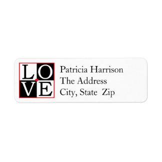 LOVE Wedding Return Address Return Address Label