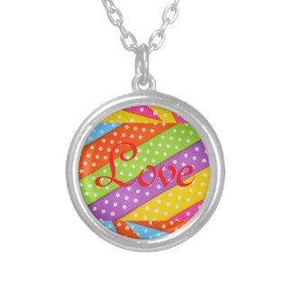 Love Wedding Valentine Rainbow Stripes Polka Dots Round Pendant Necklace