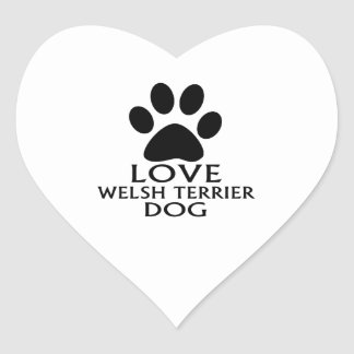 LOVE WELSH TERRIER DOG DESIGNS HEART STICKER