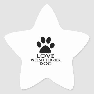 LOVE WELSH TERRIER DOG DESIGNS STAR STICKER