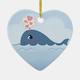 Love whale ceramic heart decoration