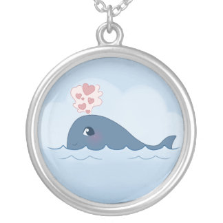Love whale round pendant necklace