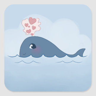 Love whale square sticker