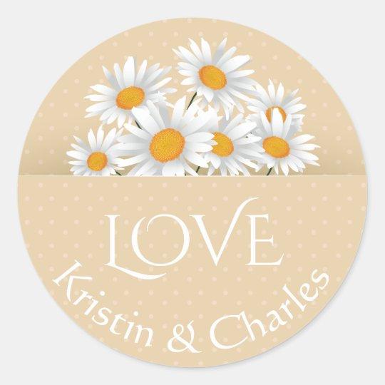 Love White Daisies Tan Polka Dot Personalised Round