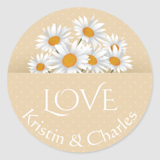 Love White Daisies Tan Polka Dot Personalized Round Sticker