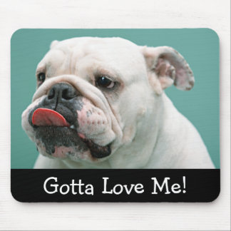 Love White English Bulldog Puppy Dog Mousepad