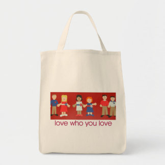 love who you love tote grocery tote bag