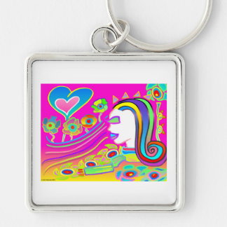 Love Will Blossom: Dream Space Silver-Colored Square Key Ring