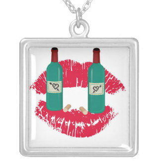 LOVE WINE GRAPHIC PRINT PERSONALIZED NECKLACE