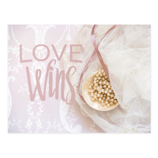 Love wins Bridal Lace and Pearls Wedding Postcard