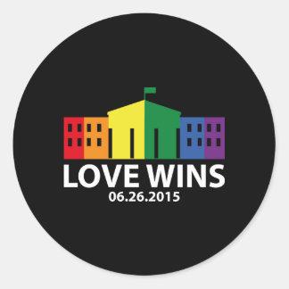 Love Wins Classic Round Sticker