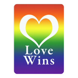Love Wins Heart Rainbow 13 Cm X 18 Cm Invitation Card
