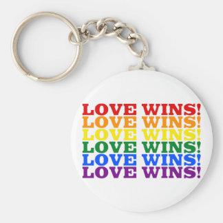 Love Wins rainbow Basic Round Button Key Ring