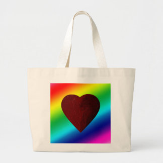 LOVE WINS! (rainbow heart) ~ Jumbo Tote Bag