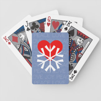 LOVE WINTER Heart Snowflake Bicycle Playing Cards