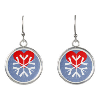 LOVE WINTER Heart Snowflake Earrings