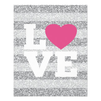 Love with a bright pink heart and Silver Glitter 11.5 Cm X 14 Cm Flyer
