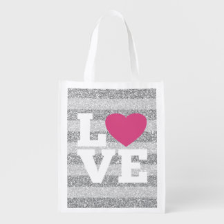 Love with a bright pink heart and Silver Glitter Reusable Grocery Bag