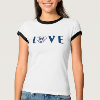 LOVE, with Butterfly in a heart, denim blue T-Shirt
