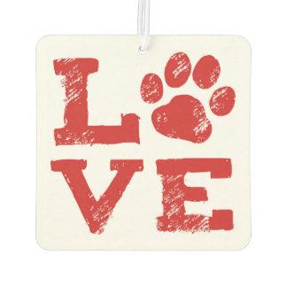 LOVE with Dog Paw Print Car Air Freshener