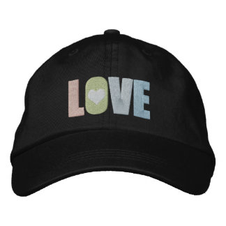 Love With Heart Detail Colorful Pastel Embroidered Hat