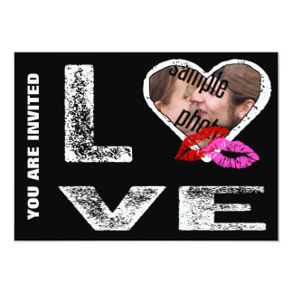 """LOVE with Kisses - Photo Template 5"""" X 7"""" Invitation Card"""