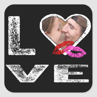 LOVE with Kisses - Photo Template Square Sticker