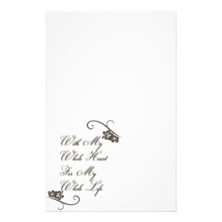 Love With My Whole Heart My Whole Life Rustic Customised Stationery