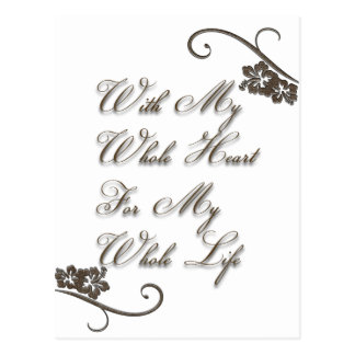 Love With My Whole Heart My Whole Life Rustic Postcard