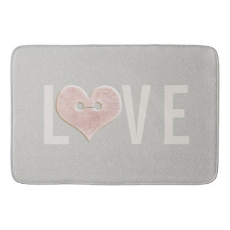 LOVE with Pink Heart | Bath Mat