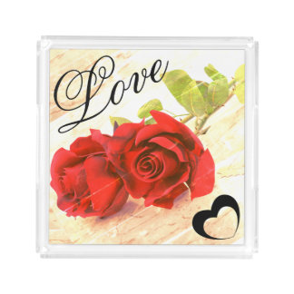 Love with rose Acrylic Serving Tray