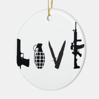 Love with Weapons Round Ceramic Decoration