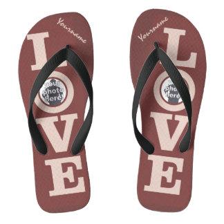 LOVE with YOUR 2 OPTIONAL PHOTOS custom sandals Flip Flops