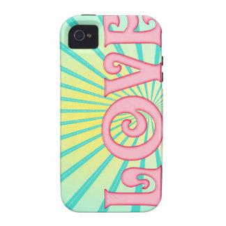 Love Word Art -Blue Sunburst Case-Mate iPhone 4 Cases