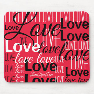 Love Word Art Pattern Mouse Mat
