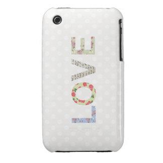 Love word art polka dot iphone 3 case