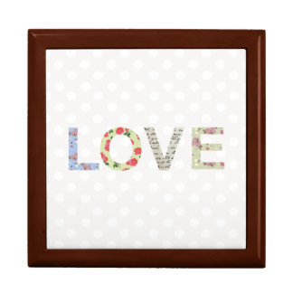 Love word art polka dot jewelry gift box