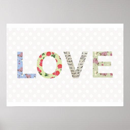 Love word art polka dot shabby chic poster