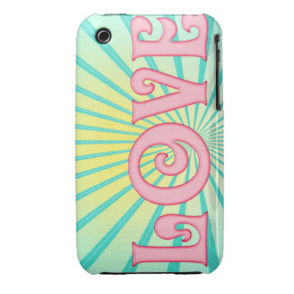 Love Word Art with Blue and Yellow Sunburst Case-Mate iPhone 3 Cases
