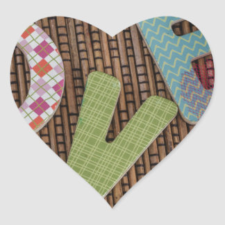 Love Word at Woven Rattan Heart Sticker